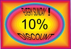 Every sunday discount 10% collorfull logo button icon images. Every Sunday discount 10% colorful logo button icon use shop and market Royalty Free Stock Images