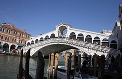Bridge Ponte Rialto in Venice Italy 2019. Every tourist likes to climb the bridge and take a picture. He has a beautiful view royalty free stock photos