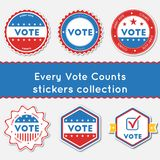Every Vote Counts stickers collection. Buttons set for USA presidential elections 2016. Collection of blue and red patriotic badges. Round tokens vector Vector Illustration