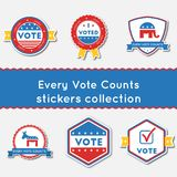 Every Vote Counts stickers set. Buttons collection for USA presidential elections 2016. Pack of blue and red patriotic badges. Round lables vector illustration Stock Illustration