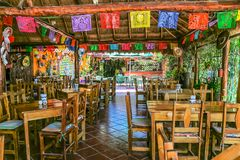 Playa del Carmen restaurant colourful decoration. For everybody, great choice of drinks and food in this Playa del Carmen restaurant Royalty Free Stock Images