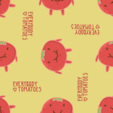 Everybody loves tomatoes seamless vector pattern Stock Images