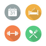 Everyday activities flat design icon set Stock Images