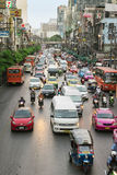 Everyday big traffic flows on roads Bangkok Royalty Free Stock Photography
