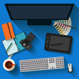 Everyday business objects in flat style with long shadow. Stock Photography
