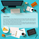 Everyday business objects in flat style with long shadow. Stock Image
