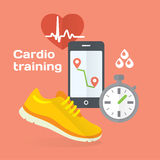 Everyday cardio training concept flat icons set of metrics, smart phone, shoes. Royalty Free Stock Image