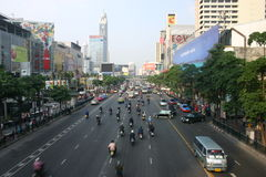 Everyday chaos. Just a normal day on the road in Bangkok, Thailand Stock Image