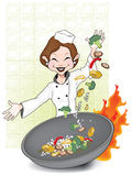 The Everyday Chef. This top chef smiles with confidence as she combines all the ingredients necessary to make her award winning stir-fry vector illustration