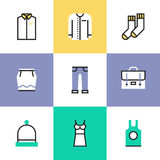 Everyday clothes pictogram icons set Stock Photo