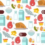 Everyday food common goods organic products seamless pattern background shopping in supermarket vector illustration. Everyday food common goods organic products Royalty Free Stock Photos