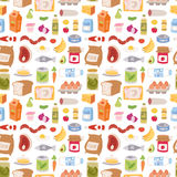 Everyday food icons patchwork vector seamless pattern. Everyday food icons patchwork. Set of common goods and everyday products we get by shopping in supermarket Stock Image