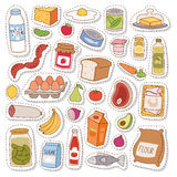 Everyday food icons patchwork vector. Stock Photography