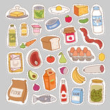 Everyday food icons patchwork vector. Royalty Free Stock Photo