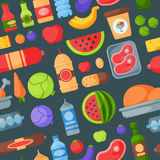 Everyday food products seamless pattern background Royalty Free Stock Photos