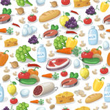 Everyday food products seamless pattern Royalty Free Stock Photos