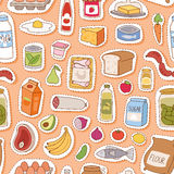 Everyday food seamless pettern vector. Royalty Free Stock Photo