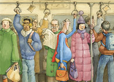 Everyday heroes. Crowd in rush hour on the subway, heroes of all kinds Stock Image
