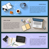 Everyday life business objects set. flat style Stock Photography
