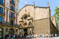 Everyday Life In Busy Downtown Barcelona City Of Spain Stock Image