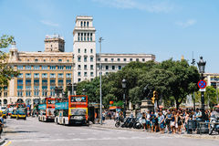 Everyday Life In Busy Downtown Barcelona City Of Spain Royalty Free Stock Photo
