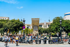 Everyday Life In Busy Downtown Barcelona City Of Spain Royalty Free Stock Image