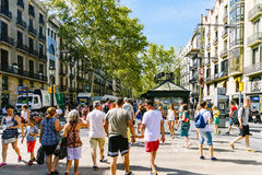 Everyday Life In Busy Downtown Barcelona City Of Spain Stock Photography