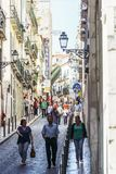 Everyday Life In Busy Downtown Lisbon City Of Portugal Royalty Free Stock Photos