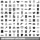100 everyday life icons set, simple style Stock Image
