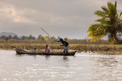 Everyday life in madagascar countryside on river Royalty Free Stock Photography