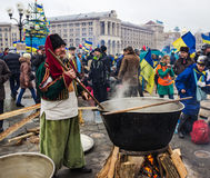 Everyday life on the Maidan in Kiev Stock Image