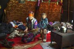 Everyday life of Russian aboriginal reindeer herders in the Arctic. Stock Photos