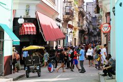 Everyday life on the streets of old Havana stock image