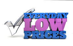 Everyday low prices. Illustration depicting the words everyday low prices with a large question mark Stock Photo