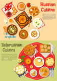 Everyday meals of russian and belarusian cuisine. Traditional russian thin pancakes blini and belarusian potato fritters draniki flat icon served with cold soup Stock Image