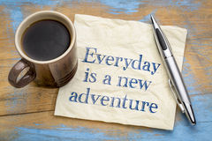 Everyday is a new adventure - napkin concept Royalty Free Stock Photos