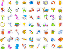 Everyday Objects Icons. Assorted sketches of simple everyday objects and food items for use as icons or other clip art Stock Photos