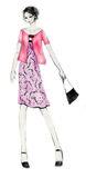 Everyday Outfit Fashion Illustration. Fashion illustration of a woman wearing an elegant, feminine outfit Stock Photo