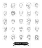 Everyday People Avatar Vector Line Icon Set. Collection of 25 everyday people avatar line icons Stock Photos
