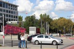 Everyday scene at Rondo Daszyńskiego in Warsaw Stock Images