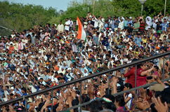 Everyday show on the Indian-Pakistan Wagah border in Amritsar Stock Photo