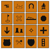 Everyday Symbols Bordered by Squares Royalty Free Stock Image