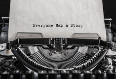 Everyone Has a Story typed words on a old vintage typewriter. royalty free stock image