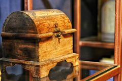 Secret old wood box in coffee shop royalty free stock photography