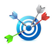 Everyone hits the target. target and goal. Stock Photos