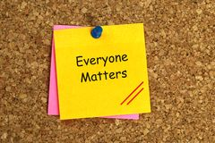 Everyone matters. On yellow paper stock image
