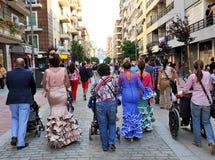 Everyone przy Kwietnia jarmarkiem, Sevilla, Andalusia, Hiszpania Zdjęcia Stock