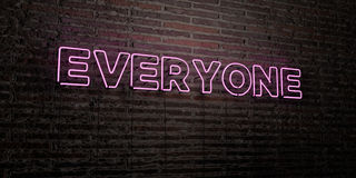 EVERYONE -Realistic Neon Sign on Brick Wall background - 3D rendered royalty free stock image. Can be used for online banner ads and direct mailers Royalty Free Stock Photography