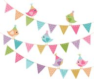 Everyone`s Invited Cute Party Birds and Bunting royalty free illustration