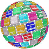 Everyone is Special Unique Different Extraordinary Globe Sphere. Everyone is unique, extraordinary, distinct, special, incomprable, different and one of a kind Royalty Free Stock Image